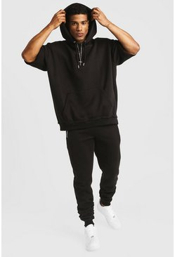 Mens Black 3/4 Oversized Hoodie With Rouched Jogger