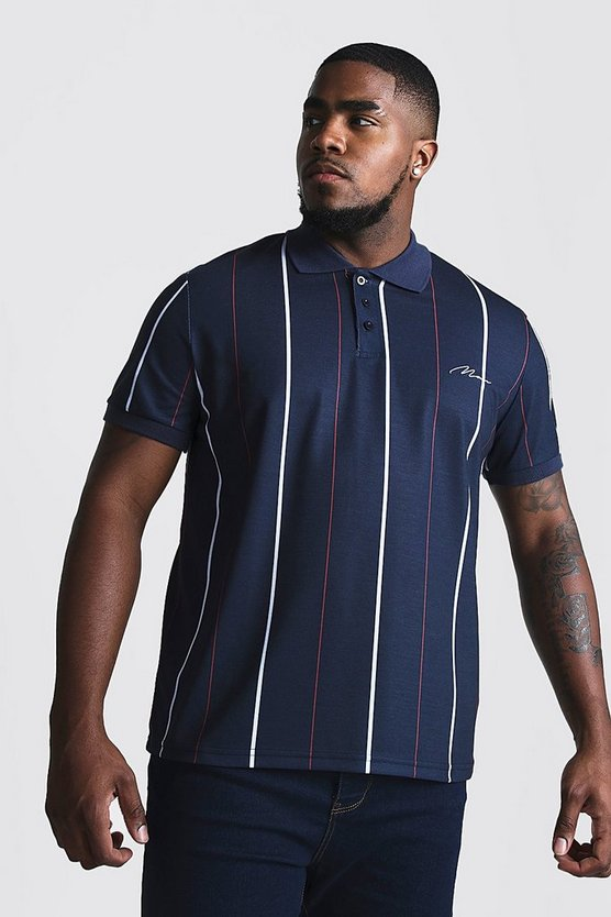 Navy Big & Tall Stripe Polo With MAN Embroidery