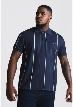 Mens Navy Big & Tall Stripe Polo With MAN Embroidery