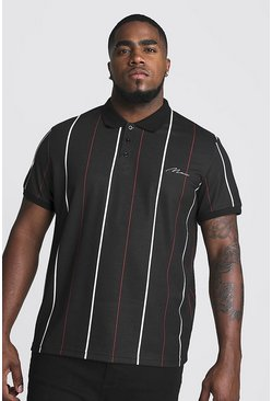 Herr Black Big & Tall Stripe Polo With MAN Embroidery