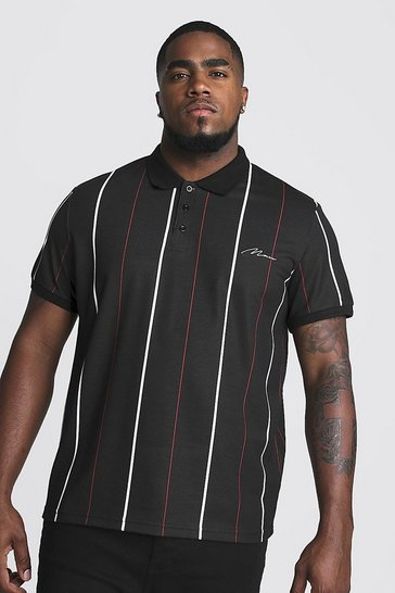 Mens Black Big & Tall Stripe Polo With MAN Embroidery
