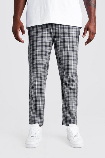 Mens Grey Big & Tall Skinny Fit Woven Check Joggers