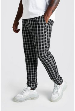 Mens Black Big & Tall Skinny Fit Woven Check Joggers
