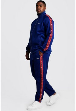Mens Navy Big & Tall MAN Tracksuit With Tape Detail