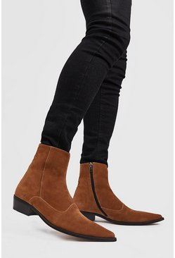 Tan Imitation Suede Western Boot