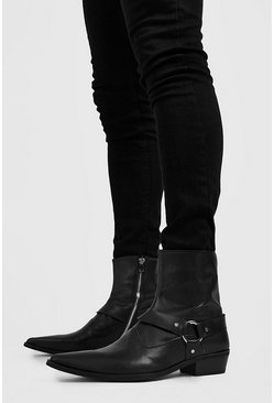 Herr Black Harness Detail Western Boot