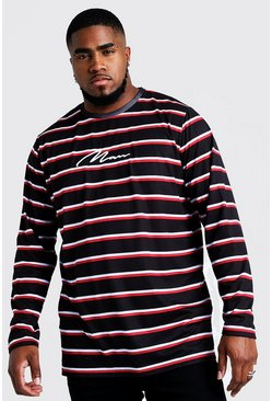 Herr Black Big & Tall Stripe T-Shirt With MAN Embroidery
