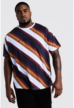 Big & Tall t-shirt a righe e ricamo MAN, Borgogna, Maschio
