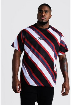 Mens Red Big & Tall Diagonal Stripe T-Shirt MAN Embroidery