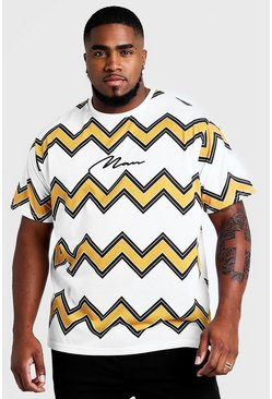 Mens Black Big & Tall Chevron T-Shirt With MAN Embroidery