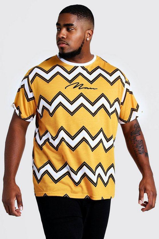 Mens Mustard Big & Tall Chevron T-Shirt MAN Embroidery