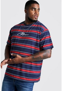 Mens Red Big & Tall Stripe T-Shirt With MAN Embroidery