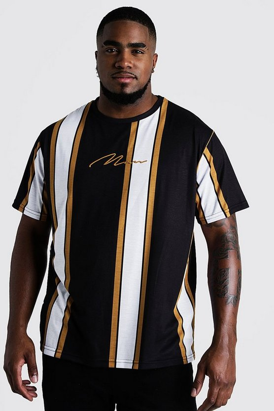Black Big & Tall Stripe T-Shirt With MAN Embroidery