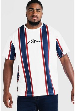 Mens White Big & Tall Stripe T-Shirt With MAN Embroidery