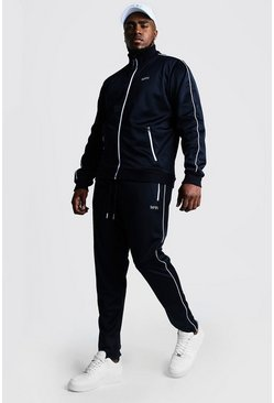 Navy Big & Tall Tricot Tracksuit With Embroidery