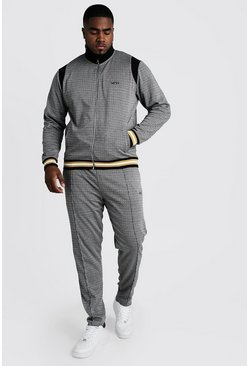 Mens Brown Big & Tall Houndstooth Tracksuit MAN Embroidery