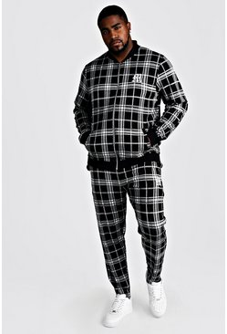 Black Big & Tall Check Tracksuit With M Embroidery