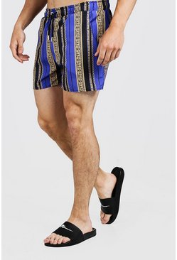 Mens Cobalt Baroque Stripe Print Swim Short