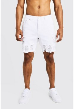 Mens White Slim Fit Denim Shorts with Heavy Distressing