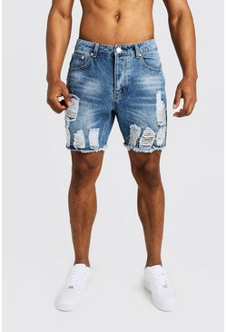 Mid blue Slim Fit Denim Shorts with Heavy Distressing