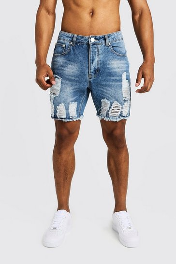 Mens Mid blue Slim Fit Denim Shorts with Heavy Distressing