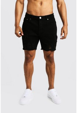 Mens Black Slim Fit Denim Shorts with Heavy Distressing