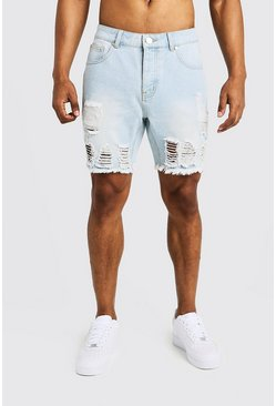 Mens Light blue Slim Fit Denim Shorts with Heavy Distressing