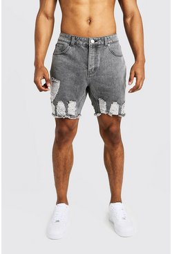 Mens Pale grey Slim Fit Denim Shorts with Heavy Distressing
