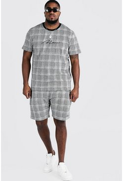 Mens Black Big & Tall Check T-Shirt & Short Set