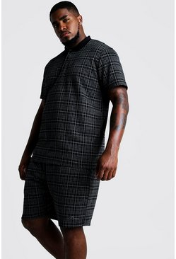 Black Big & Tall Check Polo & Short Set