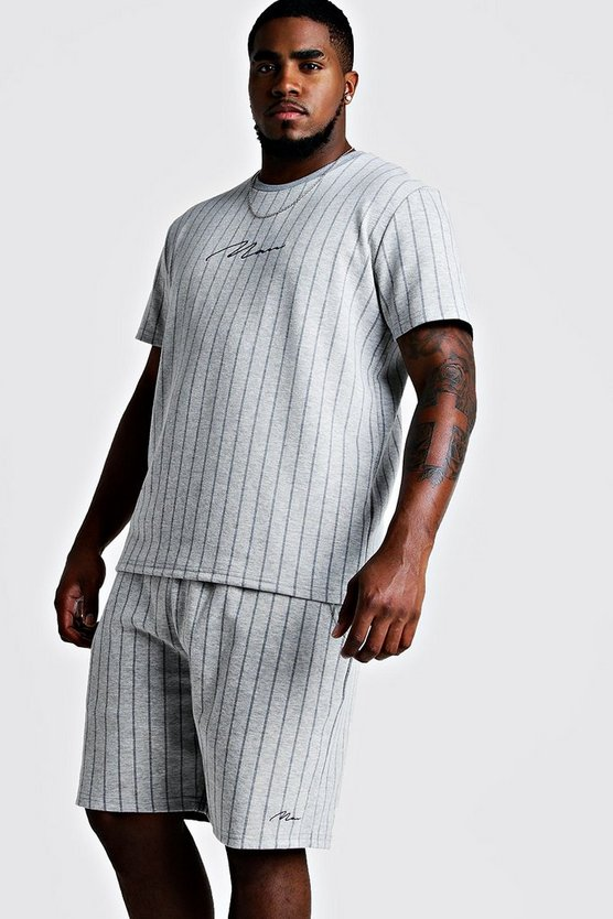 Mens Grey Big & Tall Pinstripe T-Shirt & Short Set
