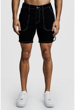 Black Slim Fit Denim Cargo Shorts With MAN Tape