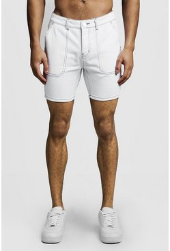 Mens White Slim Fit Denim Cargo Shorts With MAN Tape