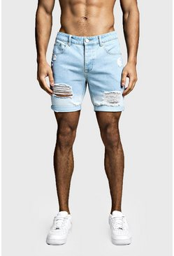 Mens Light blue Slim Fit Denim Shorts With Ombre Hem