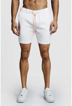 Mens White Slim Fit Denim Shorts With Elasticated Toggle