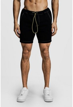 Mens Black Slim Fit Denim Shorts With Elasticated Toggle