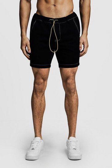 Black Slim Fit Denim Shorts With Elasticated Toggle