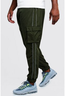 Khaki Big & Tall Cargo Joggers With Reflective Piping
