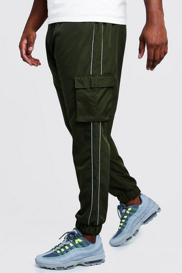 Mens Khaki Big & Tall Cargo Joggers With Reflective Piping