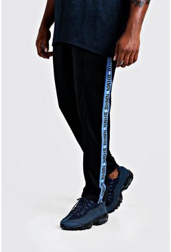 Mens Black Big & Tall Tricot Joggers With MAN Tape