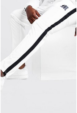 White Big & Tall Tricot Joggers With Side Tape