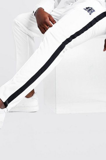 Mens White Big & Tall Tricot Joggers With Side Tape