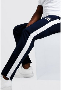 Navy Big & Tall Tricot Joggers With Side Tape