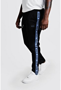 Black Big & Tall Trico Joggers With MAN Tape