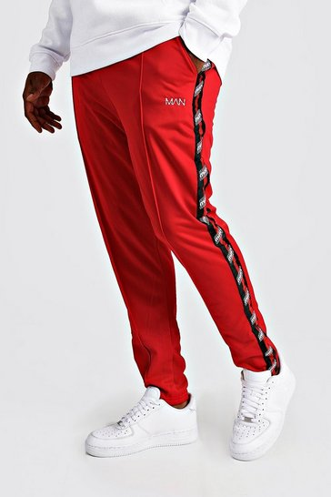 Mens Red Big & Tall Tricot Joggers With MAN Tape
