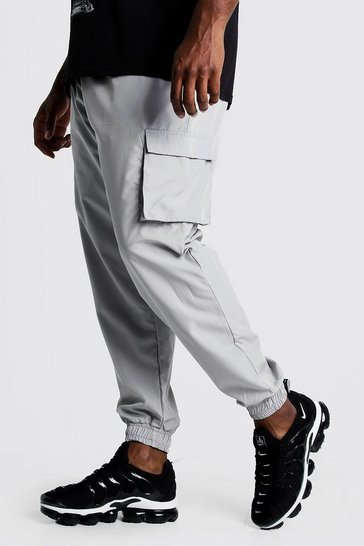 Mens Grey Big & Tall Cargo Joggers With Buckle Waistband