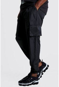 Mens Black Big & Tall Cargo Joggers With Buckle Waistband