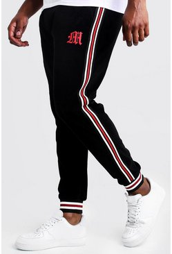 Mens Black Big & Tall Velour Joggers With Side Tape