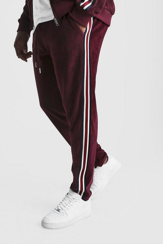 Burgundy Big & Tall Velour Joggers With Side Tape