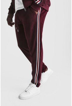 Herr Burgundy Big & Tall - Joggers i velour med kantband